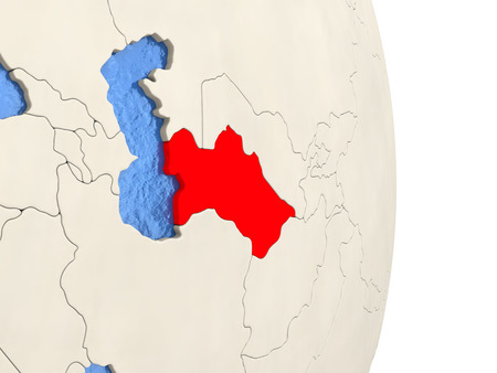 Map of Turkmenistan on globe with blue watery seas. 3D illustration Stock Photo