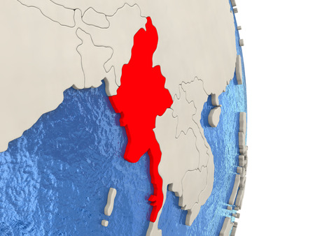 Map of Myanmar on globe with blue watery seas. 3D illustration