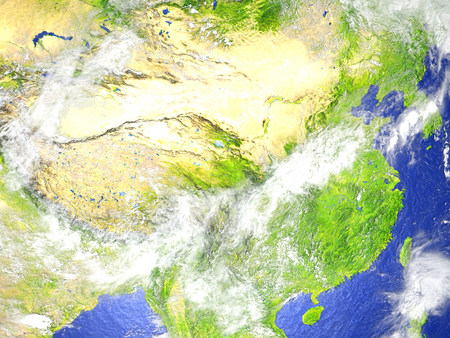 China and Mongolia region on model of Earth. 3D illustration with realistic planet surface. Stock Photo