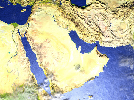 Arab Peninsula on model of Earth. 3D illustration with realistic planet surface.
