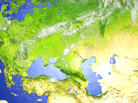 Western Asia on model of Earth. 3D illustration with realistic planet surface.