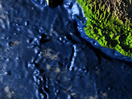 Yucatan on 3D model of Earth. 3D illustration with plastic planet surface and ocean floor. 版權商用圖片