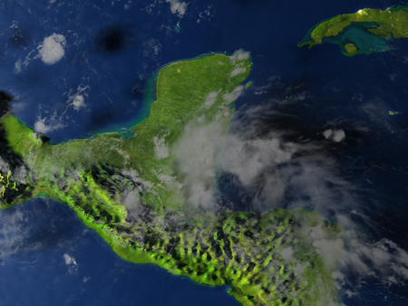 Yucatan. 3D illustration with detailed planet surface and visible city lights.