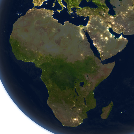 Africa at night. 3D illustration with detailed planet surface and visible city lights.