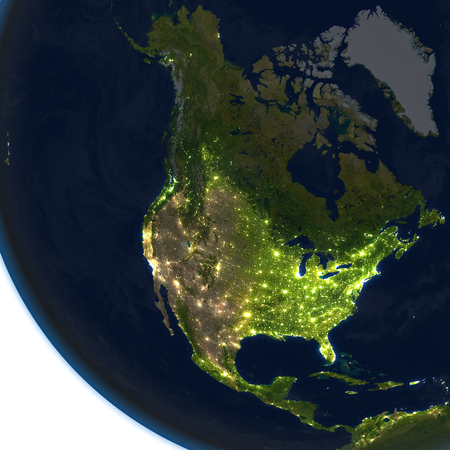 continente americano: North America at night. 3D illustration with detailed planet surface and visible city lights. Foto de archivo