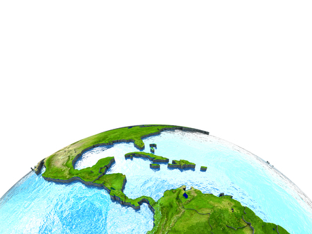 watery: Central America on 3D model of planet Earth with watery ocean and visible country borders. 3D illustration. Lot of space left blank for your copy.