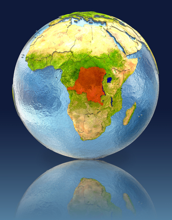 Democratic Republic of Congo on globe with reflection. Illustration with detailed planet surface.