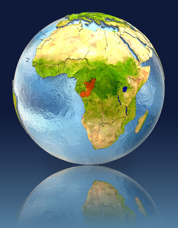 Congo on globe with reflection. Illustration with detailed planet surface.