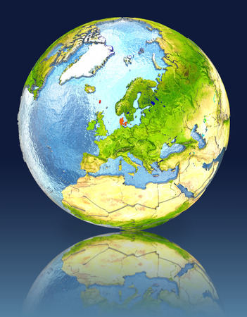 Denmark on globe with reflection. Illustration with detailed planet surface.