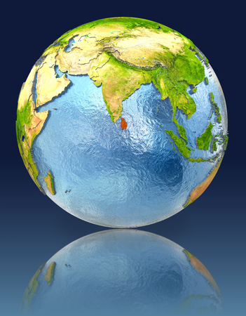 Sri Lanka on globe with reflection. Illustration with detailed planet surface.