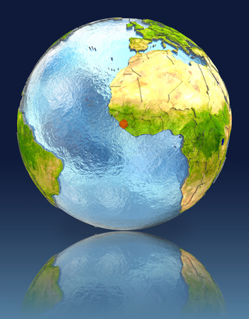 Sierra Leone on globe with reflection. Illustration with detailed planet surface. Stock Photo