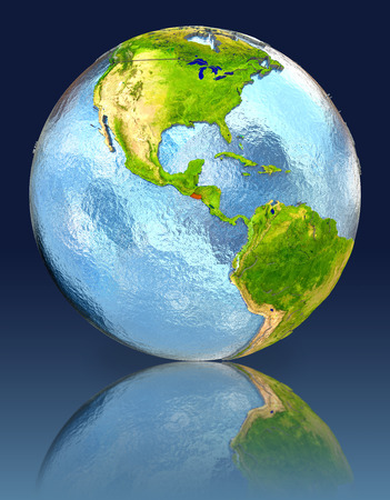 El Salvador on globe with reflection. Illustration with detailed planet surface. Stock Photo