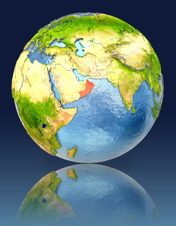 Oman on globe with reflection. Illustration with detailed planet surface. Stock Photo