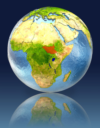 South Sudan on globe with reflection. Illustration with detailed planet surface. Stock Photo