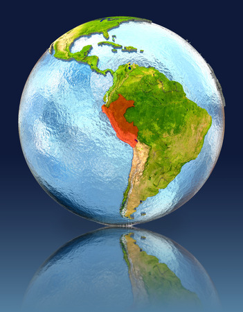 Peru on globe with reflection. Illustration with detailed planet surface. Stock Photo