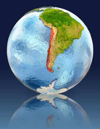 Chile on globe with reflection. Illustration with detailed planet surface. Stock Photo