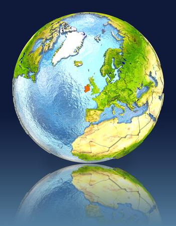 irish map: Ireland on globe with reflection. Illustration with detailed planet surface.