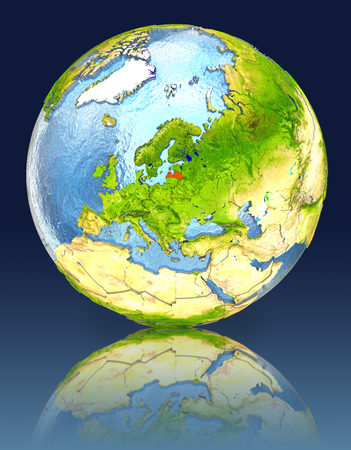 Latvia on globe with reflection. Illustration with detailed planet surface.