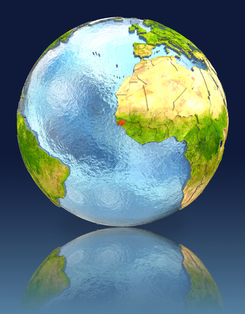 Guinea-Bissau on globe with reflection. Illustration with detailed planet surface.
