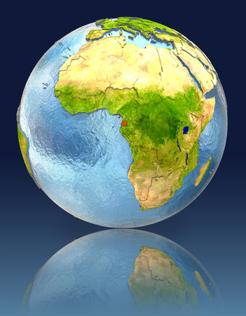 Equatorial Guinea on globe with reflection. Illustration with detailed planet surface.