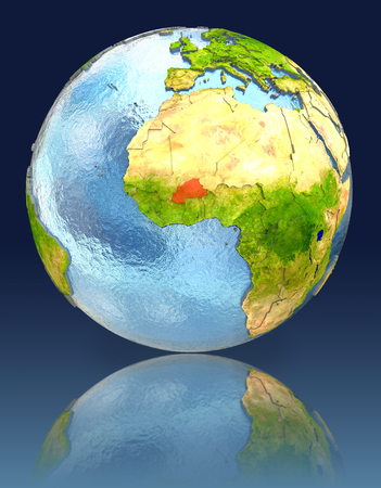 Burkina Faso on globe with reflection. Illustration with detailed planet surface.