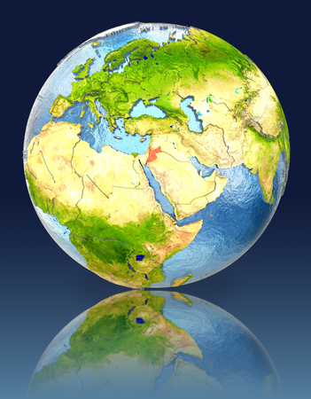 Jordan on globe with reflection. Illustration with detailed planet surface. Stock Photo