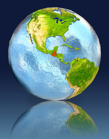 guatemalan: Guatemala on globe with reflection. Illustration with detailed planet surface.