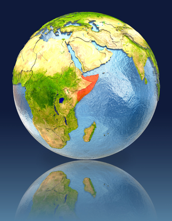 Somalia on globe with reflection. Illustration with detailed planet surface.