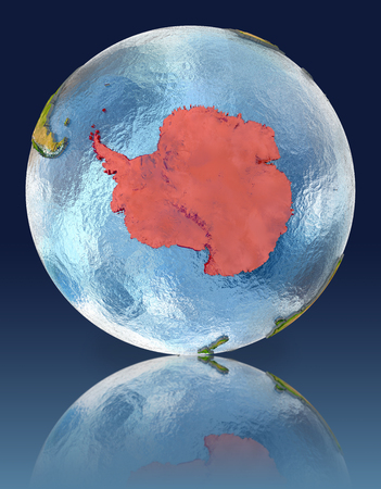 antarctica: Antarctica on globe with reflection. Illustration with detailed planet surface.