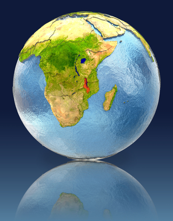 Malawi on globe with reflection. Illustration with detailed planet surface.