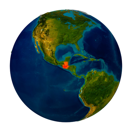 Guatemala in red on detailed model of planet Earth. 3D illustration isolated on white background.