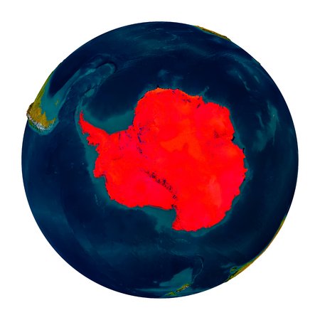 Antarctica in red on detailed model of planet Earth. 3D illustration isolated on white background.