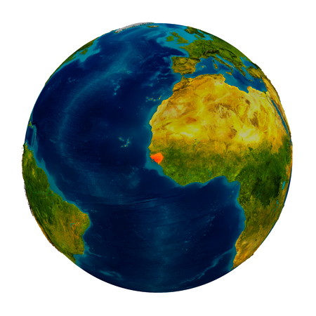 Guinea-Bissau in red on detailed model of planet Earth. 3D illustration isolated on white background. Stock Photo