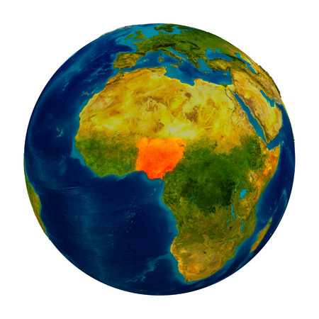 country nigeria: Nigeria in red on detailed model of planet Earth. 3D illustration isolated on white background.