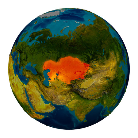 kazakhstan: Kazakhstan in red on detailed model of planet Earth. 3D illustration isolated on white background.