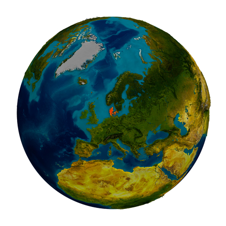 Denmark in red on detailed model of planet Earth. 3D illustration isolated on white background.