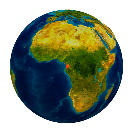 Equatorial Guinea in red on detailed model of planet Earth. 3D illustration isolated on white background.