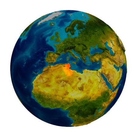 Tunisia in red on detailed model of planet Earth. 3D illustration isolated on white background.