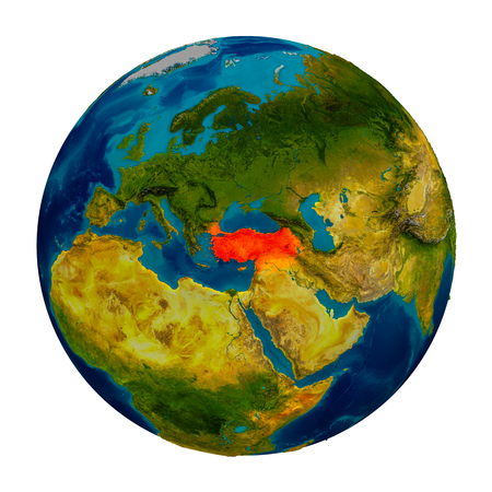 Turkey in red on detailed model of planet Earth. 3D illustration isolated on white background. Stock Photo