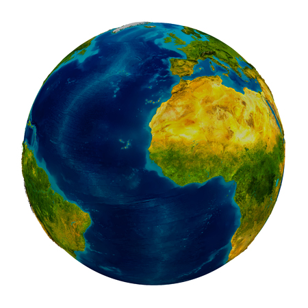 gambia: Gambia in red on detailed model of planet Earth. 3D illustration isolated on white background.