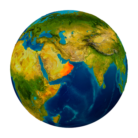 Oman in red on detailed model of planet Earth. 3D illustration isolated on white background.