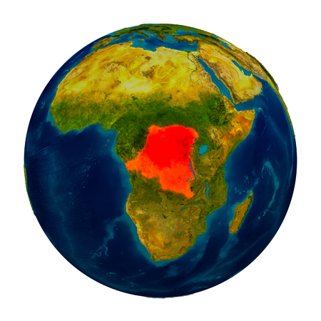 Democratic Republic of Congo in red on detailed model of planet Earth. 3D illustration isolated on white background. Stock Photo