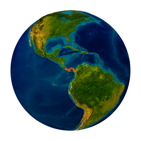 panamanian: Panama in red on detailed model of planet Earth. 3D illustration isolated on white background.