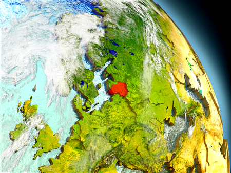 Lithuania in red on model of planet Earth with embossed countries and visible country borders. 3D illustration with clouds and reflective ocean waters.