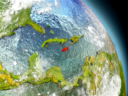 Jamaica in red on model of planet Earth with embossed countries and visible country borders. 3D illustration with clouds and reflective ocean waters. Stock Photo