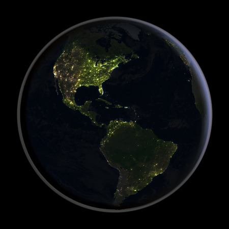 americas: Americas at night as seen from space with visible city lights. 3D illustration. Stock Photo