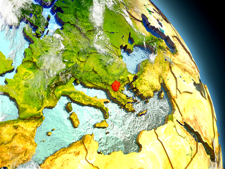 Macedonia in red on model of planet Earth with embossed countries and visible country borders. 3D illustration with clouds and reflective ocean waters.
