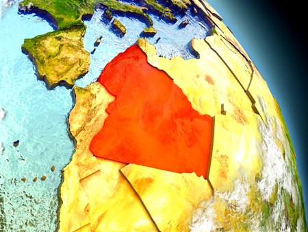 algeria: Algeria in red on model of planet Earth with embossed countries and visible country borders. 3D illustration with clouds and reflective ocean waters. Stock Photo