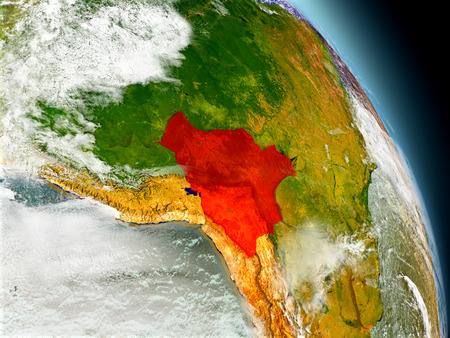 visible: Bolivia in red on model of planet Earth with embossed countries and visible country borders. 3D illustration with clouds and reflective ocean waters.