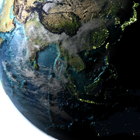 Southeast Asia on planet Earth with evening light. 3D illustration with detailed planet surface, atmosphere and city lights.